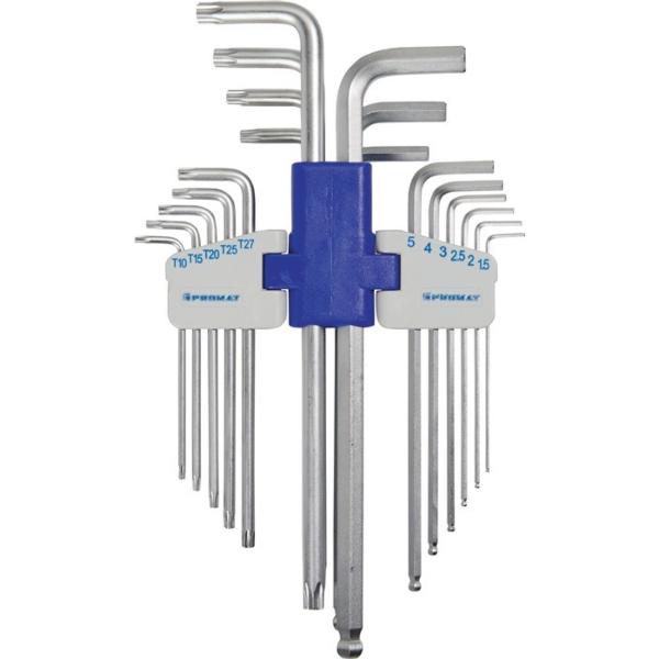 18-delni set inbus + torx ključev, 2mm - 10mm; T10 - T50; PROMAT