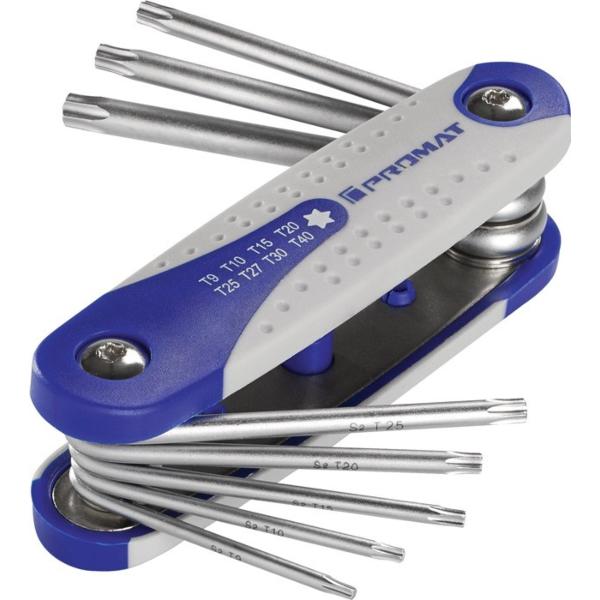 8-delni set torx ključev, zložjivi , T9 - T40; PROMAT