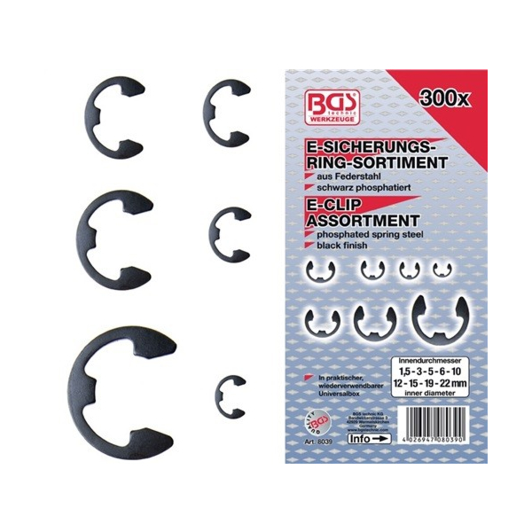 Osna varovala (E-ring), set (300 kos, 1,5-22 mm)